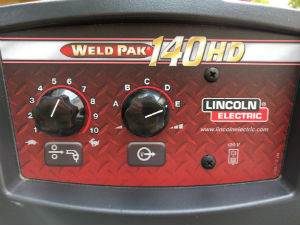 Photo showing front panel of Lincoln 140HD MIG welder (2008 model).