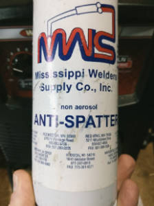 Anti-spatter spray doesn't reduce MIG spatter, but makes clean-up easier.