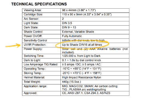 Auto-darkening shade lens technical specifications