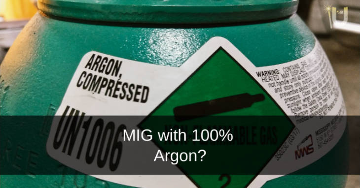 Photo of green high-pressure cylinder of 100% Argon MIG welding gas.