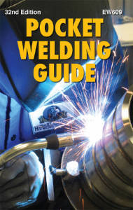cover of a reference book titled HOBART POCKET WELDING GUIDE shows a person wearing a helmet while welding