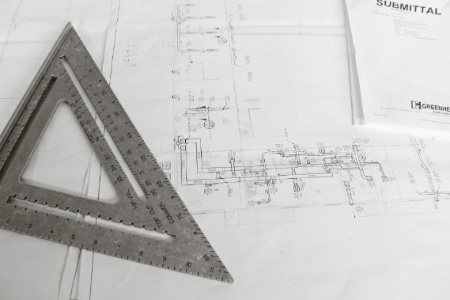 Blueprint for welding construction project.