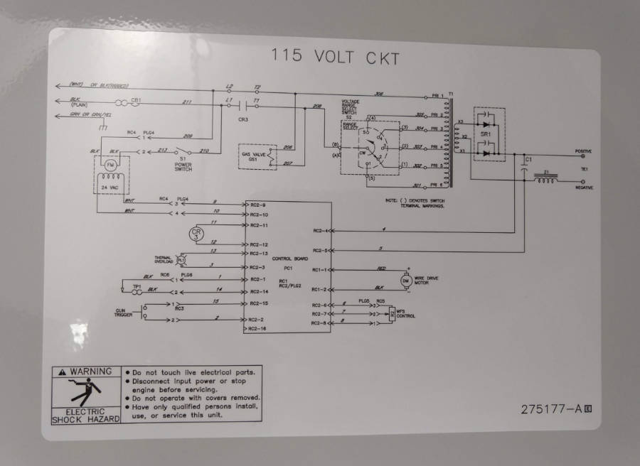 Electrical wiring diagram for Hobart Handler 140 MIG welder .