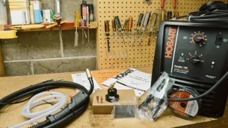 Contents of Hobart 140 MIG welder kit #500559