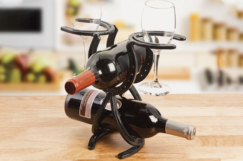 Wine rack welding project made from horseshoes.