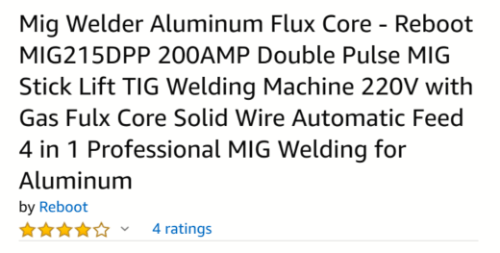 Description for aluminum flux core MIG welder.