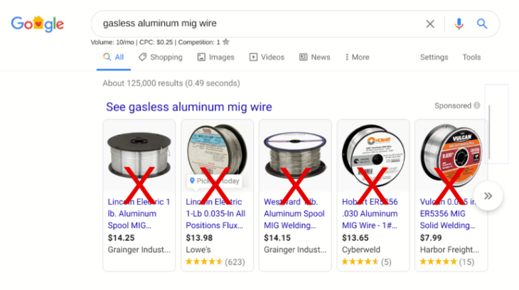 Search results for gasless aluminum welding wire.
