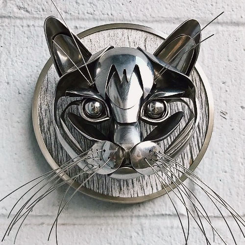 Cat Made From Welded Cutlery