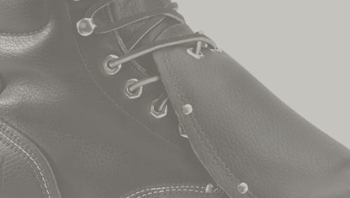 Closeup of metatarsal lace guard on boot