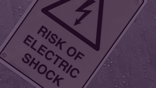 Stylized label for risk of electrical shock
