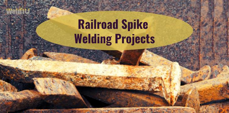 Rusty spikes used in railroad spike welding projects