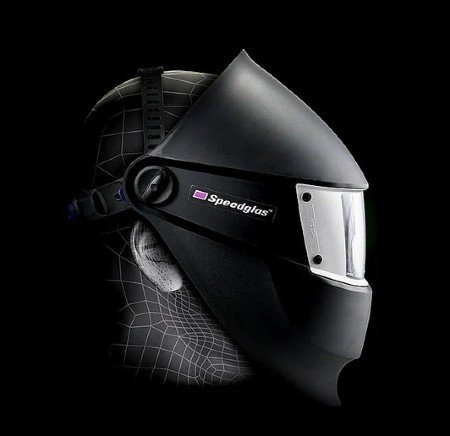 Illustration showing the lightest welding helmet has reduced coverage of the welder's head.
